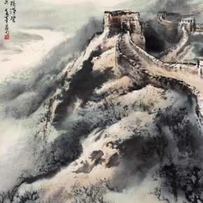 "08 Au Ho Nien The Great Wall 140 x 75 cm Chinese painting 2000 in the collection of National Art Museum of China 290x290 - ""In the Pursuit of Eminence in Ink and Brush"" – Au Ho-Nien's Art Exhibition opened at the National Art Museum of China"