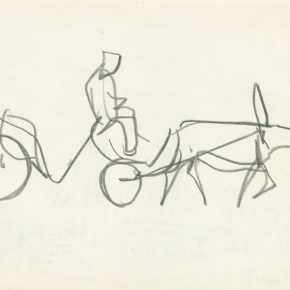 11 Ye Qianyu, Carriage, pencil on paper, 12.5 × 17 cm, 1961