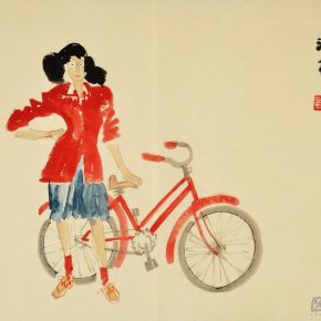 12 Ye Qianyu, A Red Girl Holding a Bike, ink and color on paper, 45 × 33 cm, in the late 1940s