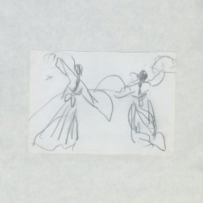 13 Ye Qianyu, Korean Dance for Two People with Fans, pencil on paper, 12.5 × 17.5 cm, 1977