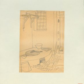 14 Ye Qianyu, A Farmhouse Pot Table in Beijing, pencil on paper, 18.1 × 13.1 cm, 1948