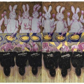 "19 Chen Xi Ten Gourmands acrylic on canvas 180 x 300 cm x 4 2017 290x290 - Deconstructing the Self and Running Forward: ""Rabbit on the run"" Chen Xi's New Works Kicked Off at Beijing Minsheng Art Museum"