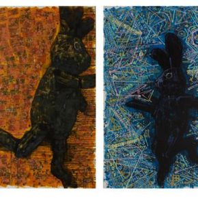 "23 Chen Xi Black Rabbits Always on the Run acrylic on canvas printed bills wire lace 230 × 150 cm × 4 2017 290x290 - Deconstructing the Self and Running Forward: ""Rabbit on the run"" Chen Xi's New Works Kicked Off at Beijing Minsheng Art Museum"