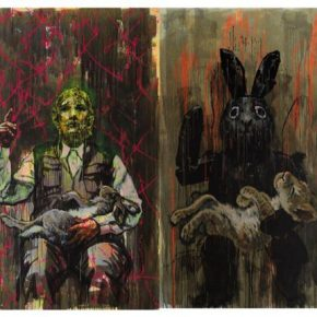 "24 Chen Xi How To Explain What Has Happened To The Deceased acrylic on canvas 300 × 180 cm ×4 2017 290x290 - Deconstructing the Self and Running Forward: ""Rabbit on the run"" Chen Xi's New Works Kicked Off at Beijing Minsheng Art Museum"