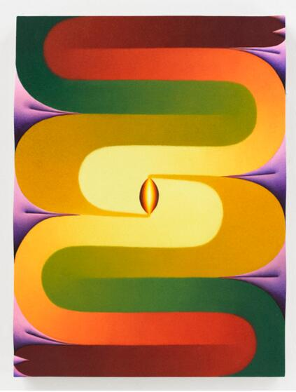 Loie Hollowell Stacked Lingams yellow purple green red 2018 oil paint acrylic medium sawdust and high density foam on linen mounted on panel 71.1cmx52.1cmx5.1cm - Pace Gallery presents Loie Hollowell's first exhibition in Asia