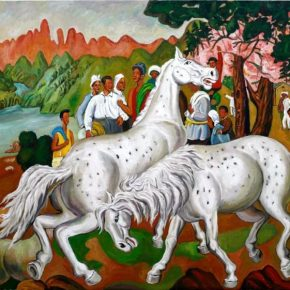 "Qin Qi Piebald Horse 2015 Oil on canvas 290x350cm 290x290 - Kuandu Museum of Fine Arts presents ""Visible or Invisible Forms"" featuring new work by Chen Yujun, Qin Qi, and Xu Xiaoguo"