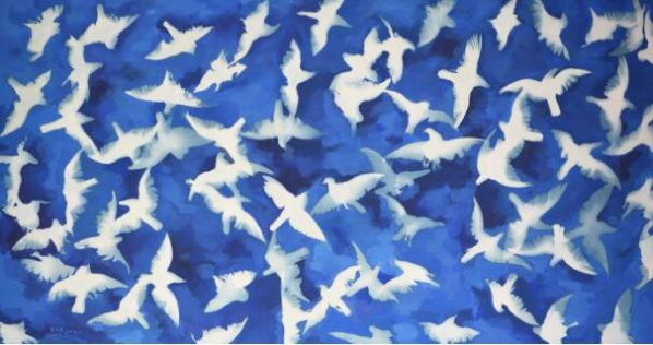 Zhang Dali Blue Blue Sky 2016 Cyanotype and Oil on Canvas 220x410cm 598x316 - Pékin Fine Arts presents Zhang Dali's latest cyanotypes and figurative marble sculpture in Beijing