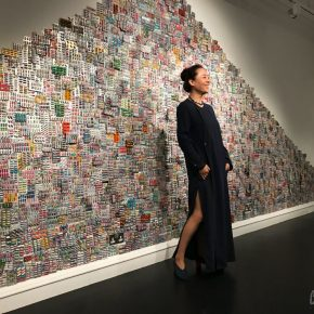 "11 Artist Zhang Yanzi stood in front of her work 290x290 - A Tale of Two Cities: Solo exhibitions of Zhang Yanzi that are being held in Edinburgh and Bath, focusing on the philosophy of ""treatment"""