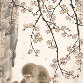 12 Fang Chuxiong Plum Blossoms and Monkeys 137.5 x 45 cm ink and color on paper 2018 290x290 - Tasteful Leisure among Flowers – Contemporary Chinese Bird-and-Flower Painting Exhibition