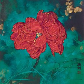 19 Double Flowers of a Green Pool ink and color on paper 50 x 40 cm ink and color on paper 2014 290x290 - Tasteful Leisure among Flowers – Contemporary Chinese Bird-and-Flower Painting Exhibition