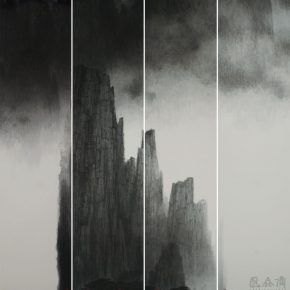 "20 Wong Hau Kwei Huangshan Mountain in Splashed ink 188 x 189 cm 2016 290x290 - Urban Landscapes Presented in Ink Paintings: ""Ink Art – Wong Hau Kwei"" Debuted at the National Art Museum of China"