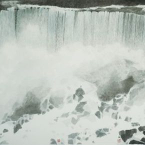 "22 Wong Hau Kwei Niagalra Falls 90 x 98 cm x 3 2016 290x290 - Urban Landscapes Presented in Ink Paintings: ""Ink Art – Wong Hau Kwei"" Debuted at the National Art Museum of China"