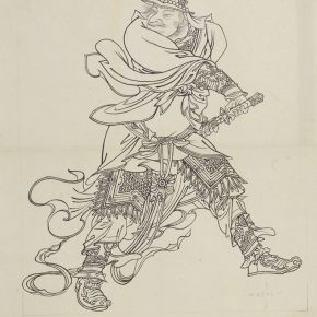 "27 Li Song A Military Officer of the mural painting of Kunlu Temple Shijiazhuang Hebei line drawing 109 x 86 cm 1959 290x290 - ""Searching for Treasures from History – Art Historian Li Song's Scholarships and Collections"" was launched"