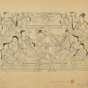 "28 Li Song A replicate of Dunhuang mural painting line drawing 57 x 60 cm 290x290 - ""Searching for Treasures from History – Art Historian Li Song's Scholarships and Collections"" was launched"