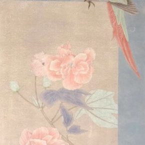 30 Han Fei Twelve Months · Hibiscus 82.5 x 31 cm ink and color on paper 2018 290x290 - Tasteful Leisure among Flowers – Contemporary Chinese Bird-and-Flower Painting Exhibition