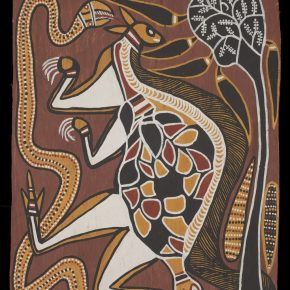 "David Malangi Totems of the Manharrŋu Mortuary Rites 1966 Courtesy of National Museum of Australia 1 290x290 - The National Museum of Australia announces ""Old Masters: Australia's Great Bark Artists "" starts its tour in China on July 3"