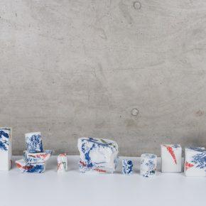 """Landscapes Deconstruct I 2018. Porcelain fire to 1300C gas reduction various dimension 12 pieces. 290x290 - Taoxichuan Ceramic Art Avenue Art Gallery presents Renqian Yang's exhibition """"Construct Deconstruction"""""""