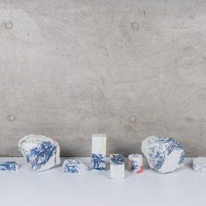 """Landscapes Deconstruct VI 2018 Porcelain fire to 1300C gas reduction various dimension 8 pieces. 290x290 - Taoxichuan Ceramic Art Avenue Art Gallery presents Renqian Yang's exhibition """"Construct Deconstruction"""""""