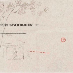 "Wang Yuping Starbucks 3 2017 Watercolour on napkin 21.5x33.5cm 290x290 - Tang Contemporary Art presents Wang Yuping's ""Tedious Paradise"" in Hong Kong"