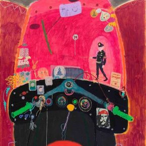 "Wang Yuping Tuk Tuk 3 2018 Acrylic and oil pastel on canvas 210x160cm 290x290 - Tang Contemporary Art presents Wang Yuping's ""Tedious Paradise"" in Hong Kong"