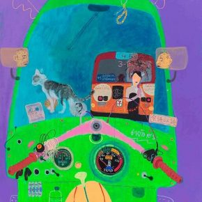 "Wang Yuping Tuk Tuk 4 2018 Acrylic and oil pastel on canvas 210x160cm 290x290 - Tang Contemporary Art presents Wang Yuping's ""Tedious Paradise"" in Hong Kong"