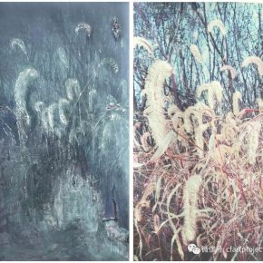 "Zhong Zhao Day and night Green bristlegrass 2017 mixed media on paper 100x55cm 290x290 - The group exhibition entitled ""On Paper ·Supreme"" will be presented at Qindao Tiantai Art Center"