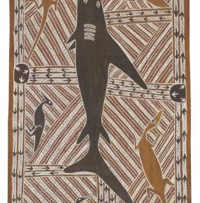 Mutitjpuy Munungurr The Djan'kawu in Djapu Clan Territory with Mana the Shark 1967 licensed by Buku Larrnggay Mulka Centre 286x290 - The Magnificent Tour of Australia's Aboriginal Bark Paintings in China Debuted at the National Museum of China