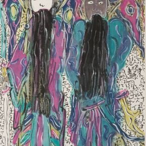"""02 Zhu Zhengeng Opera Figures III 2010 Enriched colors on paper 137x69cm 290x290 - """"To Be Innovational: Zhu Zhengeng Solo Exhibition"""" is on display at Wuhan Art Museum"""