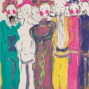 """07 Zhu Zhengeng Picture of Opera Figures 2011 Enriched colors on paper 138x69cm 290x290 - """"To Be Innovational: Zhu Zhengeng Solo Exhibition"""" is on display at Wuhan Art Museum"""