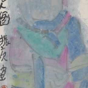 """08 Zhu Zhengang Picture of Celestial Being 2004 Enriched colors on paper 55.7x16.6cm 290x290 - """"To Be Innovational: Zhu Zhengeng Solo Exhibition"""" is on display at Wuhan Art Museum"""