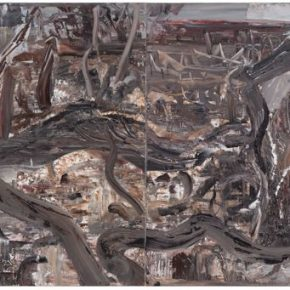 25 Liu Shangying, Populus Diversifolias and Sand No.14, oil on canvas, 160 x 480 cm, 2015