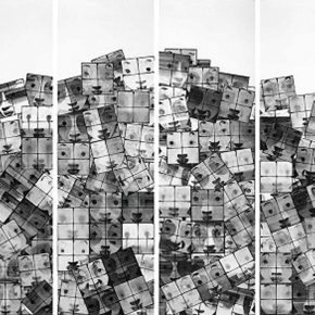 08 Cai Guangbin, Window • Stacked, 230 × 70 cm × 4, Chinese ink, 2006