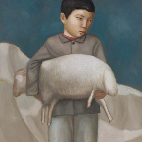 09 Duan Jianwei, Holding a Sheep, oil on canvas, 100 x 80 cm, 2014