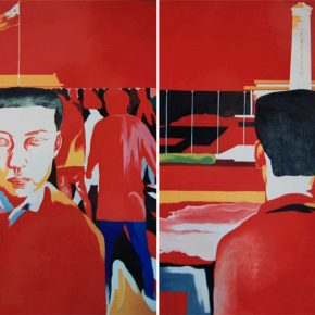 13 Cai Guangbin Square – Tiananmen Square acrylic on canvas 170 × 172 cm × 2 1993 1 290x290 - Cai Guangbin: Starting from the Concept—The Modernized Process of Ink and Wash