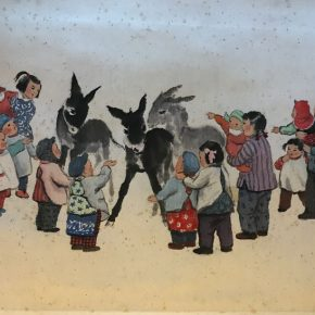 "14 Xiao Shufang The Commune got little burros 1960 traditional Chinese painting 44x70.5cm 290x290 - ""The First Encounter"" and ""Same Path"": Exhibition of Wu Zuoren and Xiao Shufang opened at the National Art Museum of China"