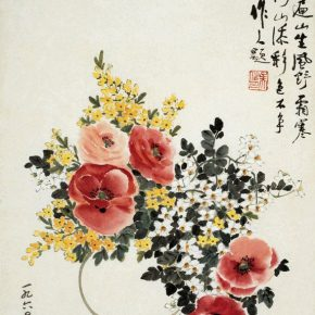 "19 Xiao Shufang Mountain Flowers of Da Hinggan Mountains Calligraphy by Wu Zuoren 1961 traditional Chinese painting 82x47cm 290x290 - ""The First Encounter"" and ""Same Path"": Exhibition of Wu Zuoren and Xiao Shufang opened at the National Art Museum of China"