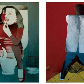24 Cai Guangbin, Bathroom • Wall, acrylic on canvas, 100 × 120 cm × 2, 1993
