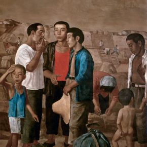 28 Duan Jianwei, The Arrival of Peasant Who Cut Wheat for Other People, oil on canvas, 180 x 150 cm, 1994