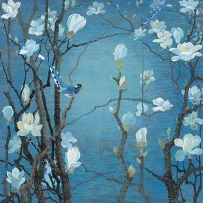 "Yuan Yunfu The magnolias 1981 Re color on paper 104×103cm 1 290x290 - ""Bright Glory: The Aesthetics of Yuan Yunfu"" was unveiled at Tsinghua University Art Museum"