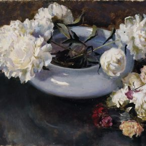 """31 Dai Ze White Peony Root oil on canvas 39.8 x 54 cm 1982 290x290 - Do the Best to Cultivate and Persist in the Artistic State: """"Cultivator—Exhibition of Dai Ze's Oil Paintings"""" Opened"""