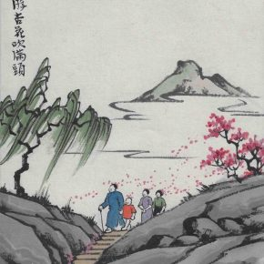 "01 Feng Zikai Spring Apricot Flowers ink and color on the paper of the album 2 290x290 - ""Human Comedies—The Art of Feng Zikai"" Debuted at NAMOC"