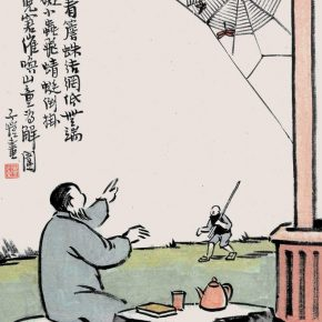 "08 Feng Zikai Silently Looking at the Spiders Weaving Its Net ink and color on the paper of the album 2 290x290 - ""Human Comedies—The Art of Feng Zikai"" Debuted at NAMOC"