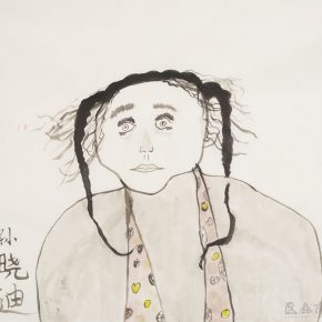 """Self-Portrait"", by a student, Chinese painting, 68×68cm, 2018"