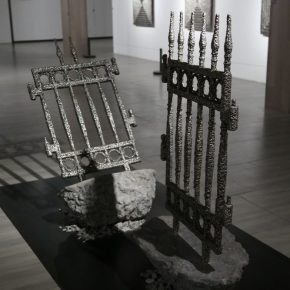 Chen Mingqiang, Bonsai No. 1, 2018; Old iron fence, stainless steel electrode, cement, iron powder, magnetic iron ore and electric welding slag, 50×70×150cm