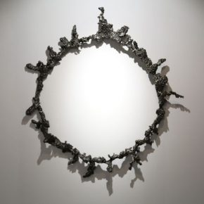 Chen Mingqiang, Thorn Crown No. 1, 2017; Ferroalloy, stainless steel electrode, diameter 135cm, height 15cm