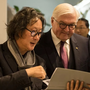 German President Frank-Walter Steinmeier called on Professor Xu Bing from CAFA during his first state visit to China
