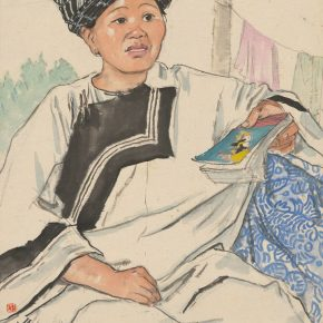 Li Hu, An Old Lady from Jishou, 54×39cm, ink and color on paper, 1959