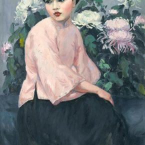 Fang Junbi, A Girl in Peach, 1926; Oil on canvas, 114×79cm