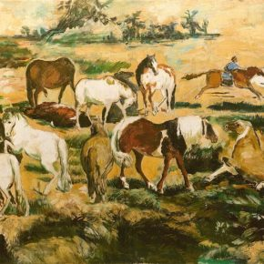 Sha Qi, The Seventeen Horses in the Spring Suburb, 84×156cm, oil on canvas, 1990