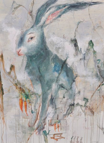 "13 Xu Feng Outlining oil on canvas 150x110cm 2018 434x598 - Xu Feng—To Embrace the World While Wearing the Mask of a ""Rabbit"""